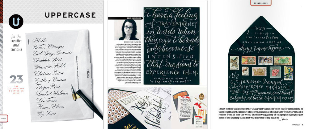 Uppercase Magazine feature of Molly Suber Thorpe of Plurabelle Calligraphy