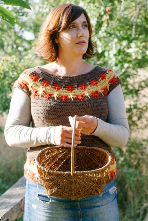 Maple Falls Sweater uses multiple spike stitches to look like leaves.