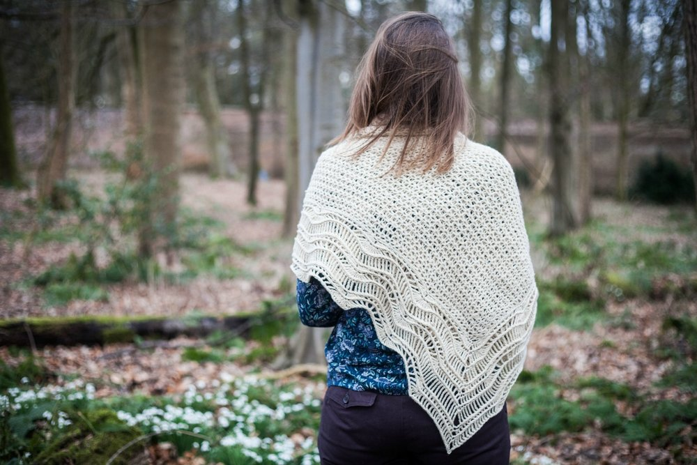 Alchemilla hap shawl features a rippled lacy border