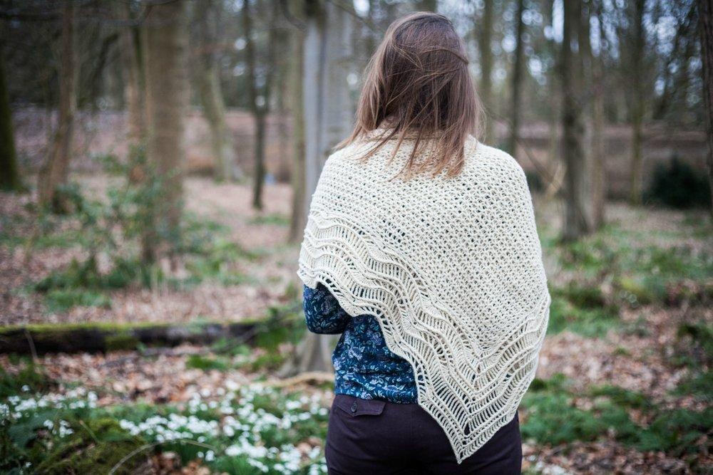 Alchemilla hap shawl features a rippled lacy border