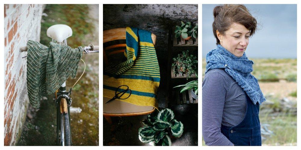 From L to R: Contour Shawl, Flag Iris Shawl, Yealm Shawl.