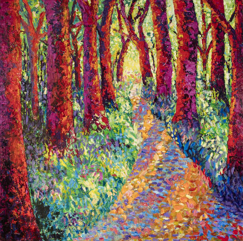 "Crimson Light acrylic on panel 36""x36""x2.5"