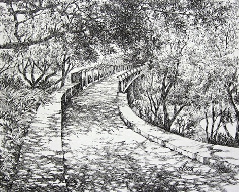 Olson_ Curt_ Garden Bridge_ Pen&Ink_ 11x14.jpeg