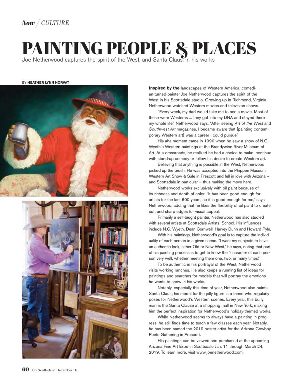 Joe Netherwood - So Scottsdale Magazine, December 2018 Issue. Page 60