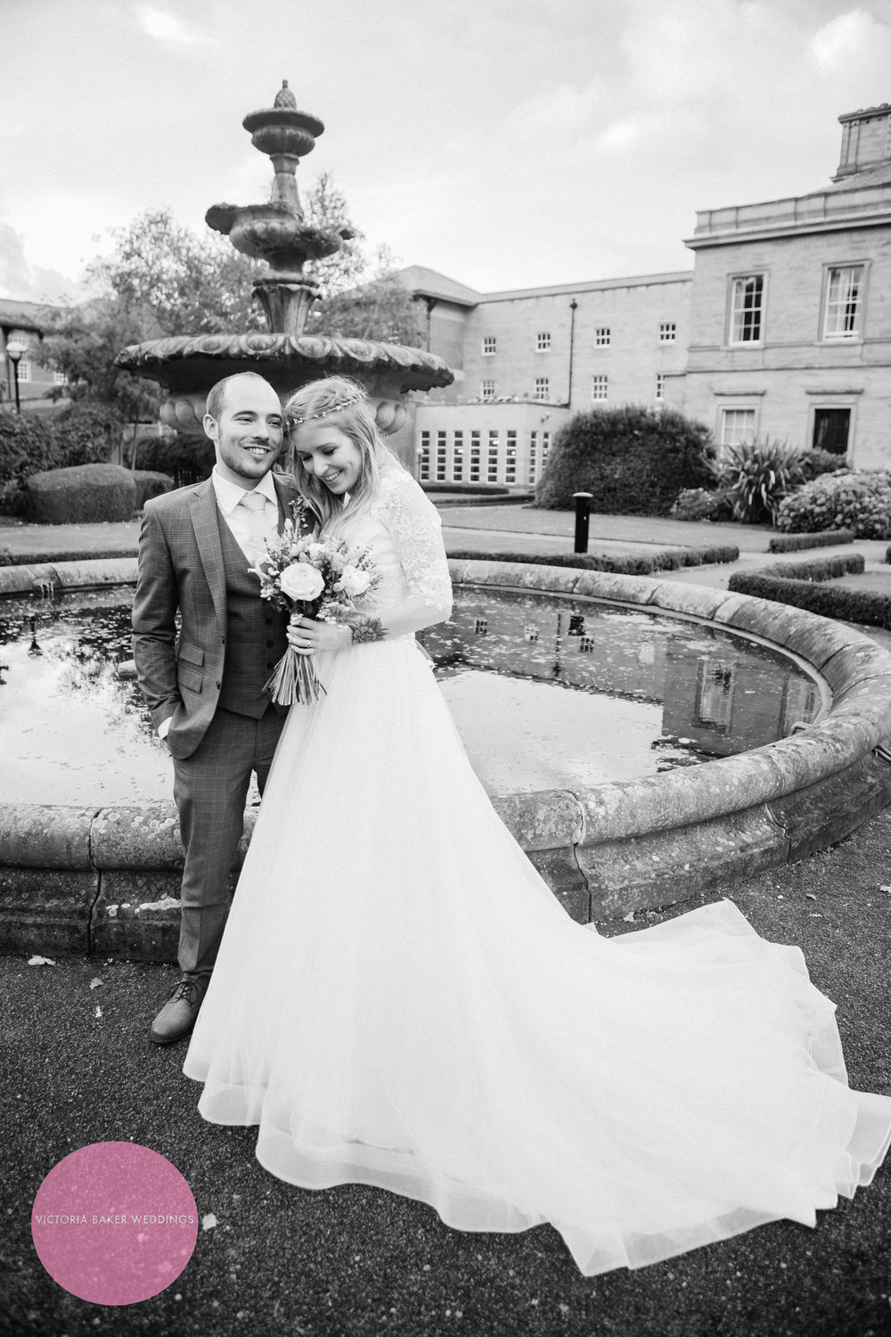 Bride and Groom Oulton Hall fountain Leeds