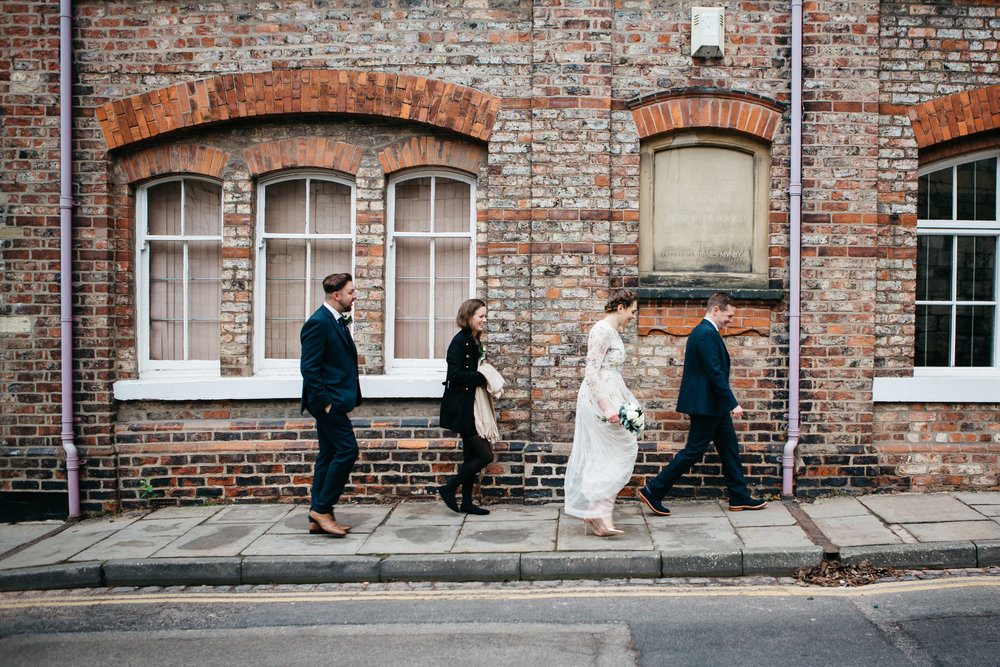 Bridal Party walking York