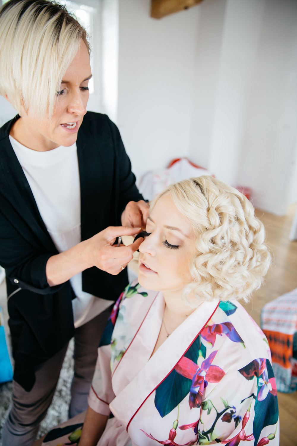 MUA Catherine Elizabeth getting bride ready at Broughton Hall