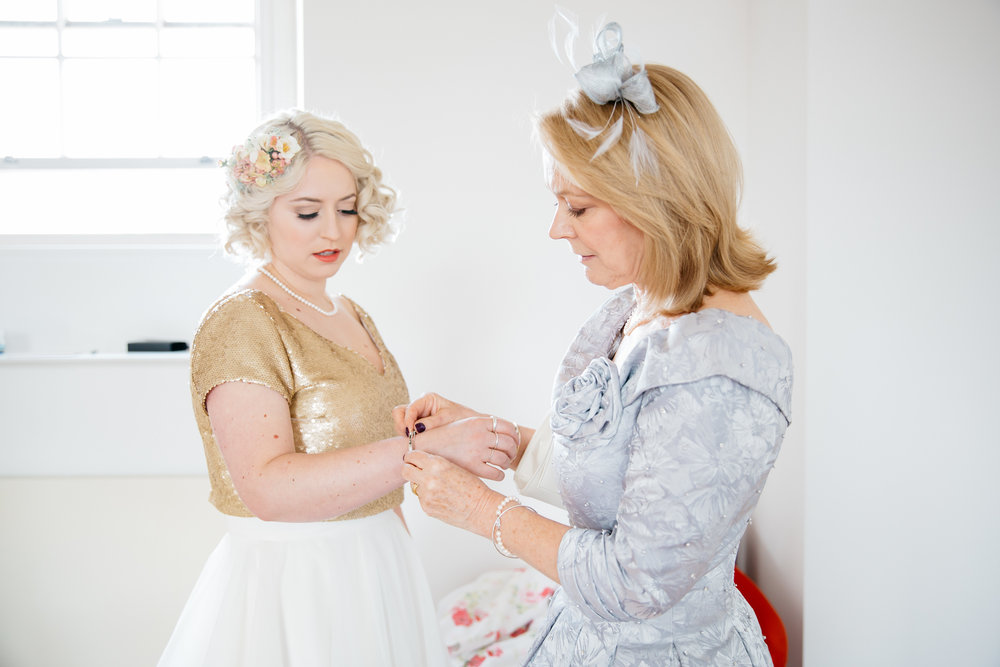 Bride and Bride's Mother getting ready at Eden House