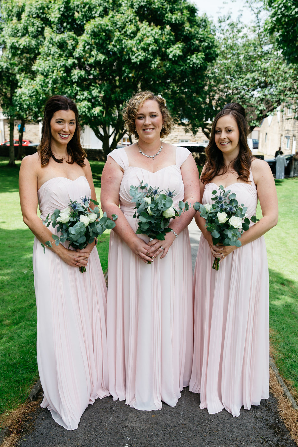 Bridesmaids at Christ Church in Skipton North Yorkshire
