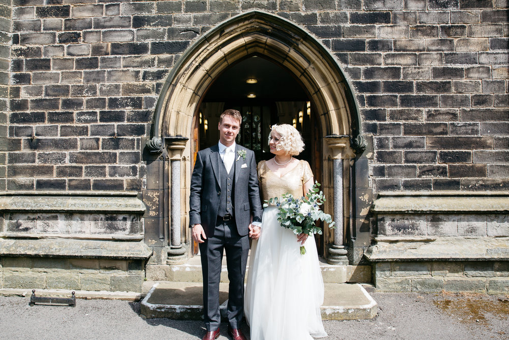 Bride & Groom outside church North Yorkshire
