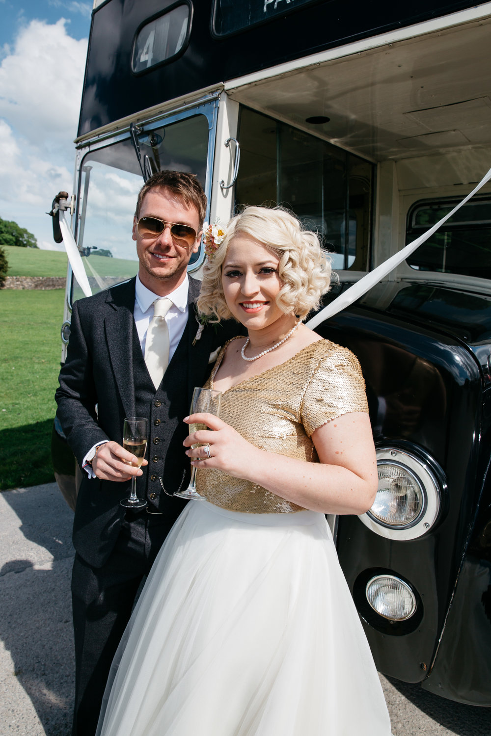 Bride & Groom with Vintage Bus North Yorkshire
