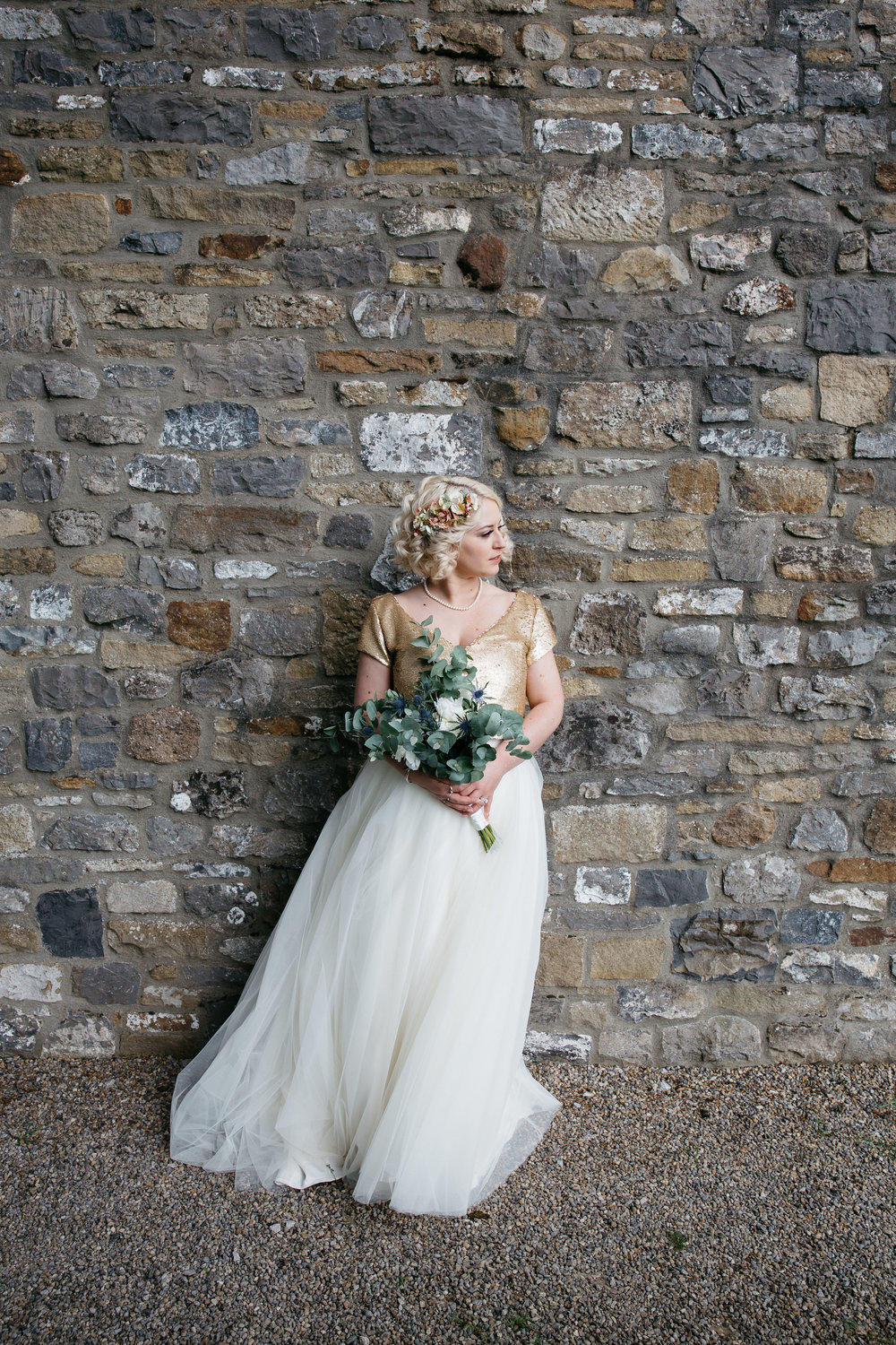 Bride in Stephanie Moran Wedding Dress North Yorkshire