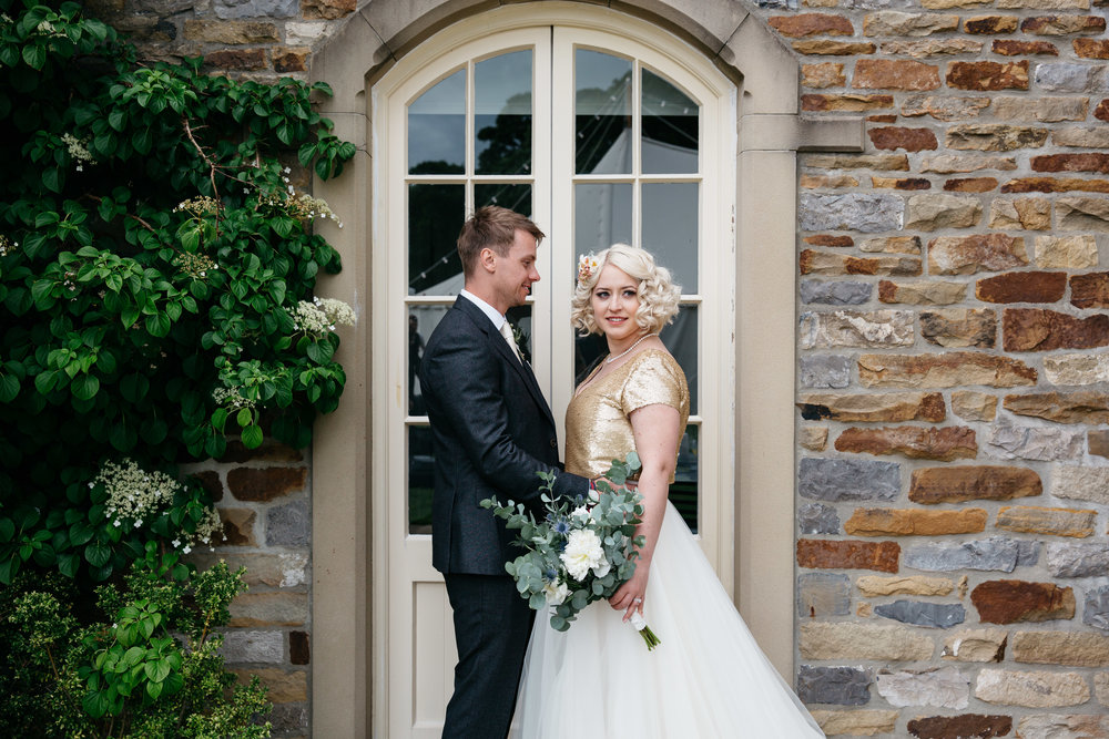 Bride and Groom at Eden House at Broughton Hall