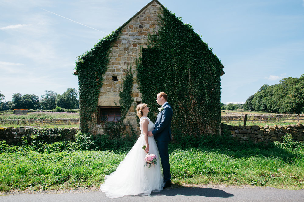 Bride and Groom Yorkshire Countryside Wedding