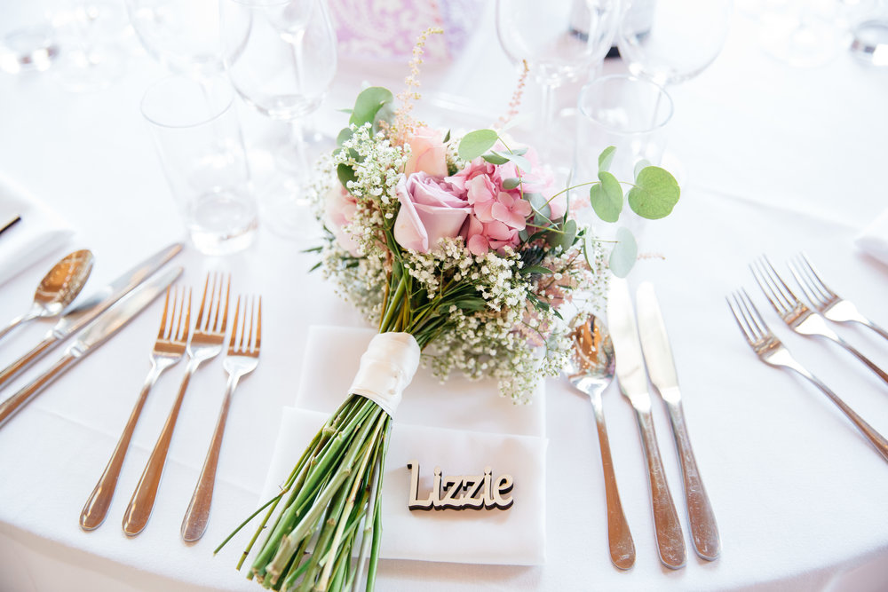 Wedding Table settings and bouquet