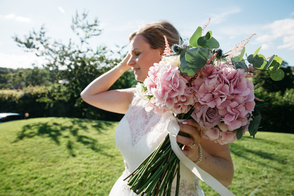 Bride with wedding bouquet North Yorkshire wedding photography
