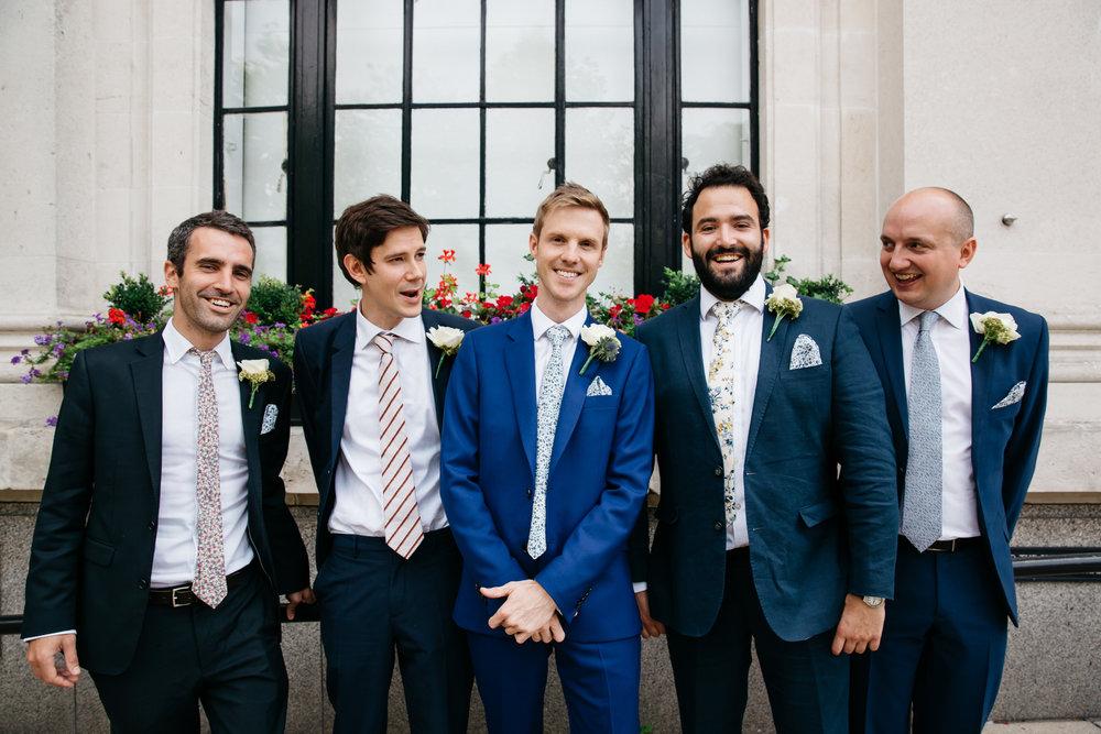 Groom and Groomsmen at Islington Town Hall - London Wedding Photographer