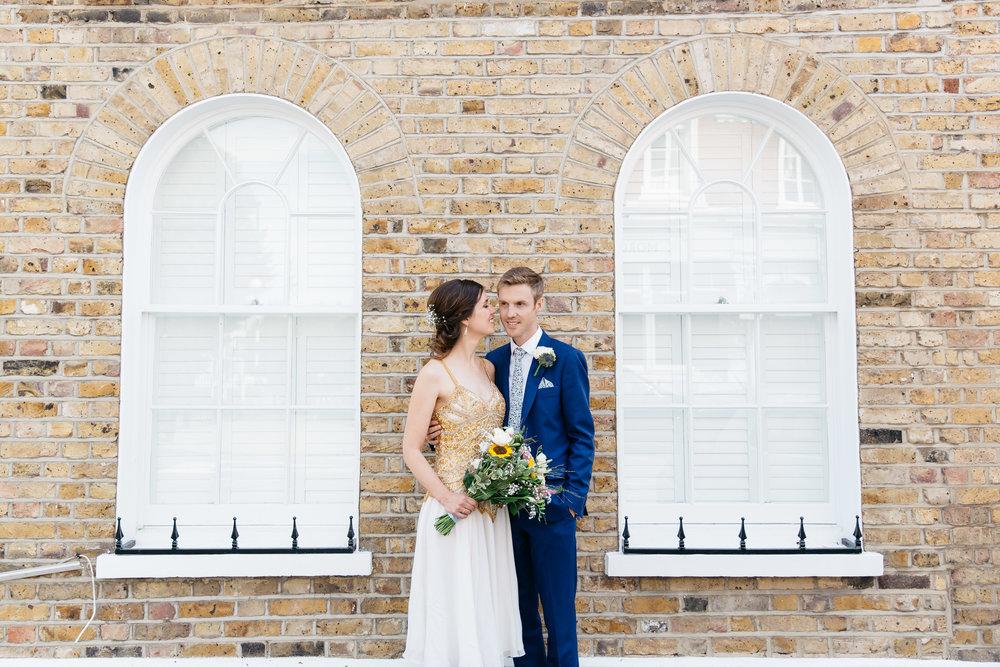 Bride and Groom East London London Wedding brick wall