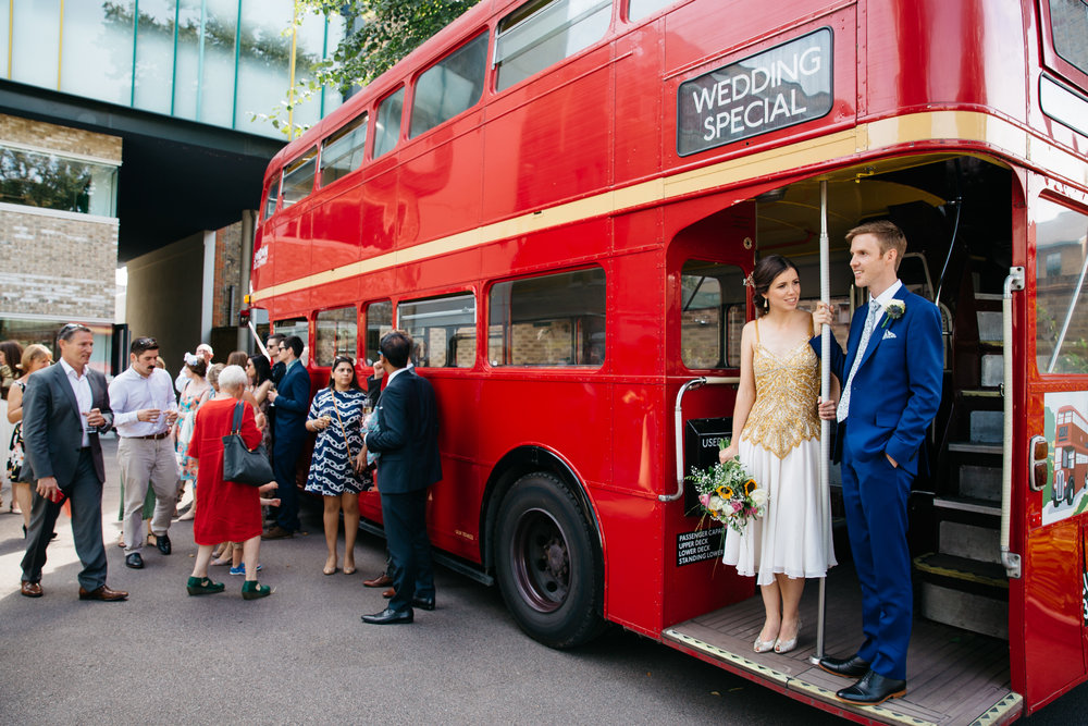 London wedding on London Routemaster