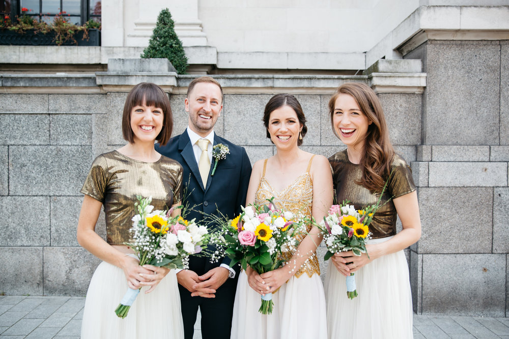 Bride and Bridesmaids outside Islington Town Hall