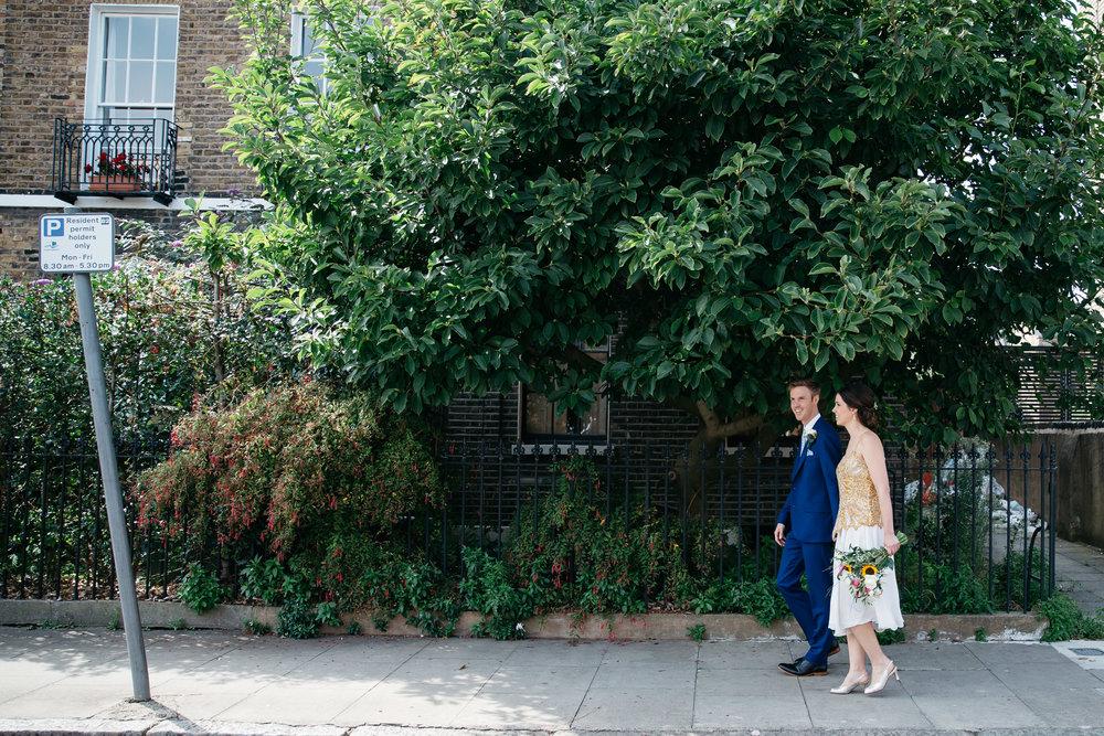 Bride and Groom Walking on London street