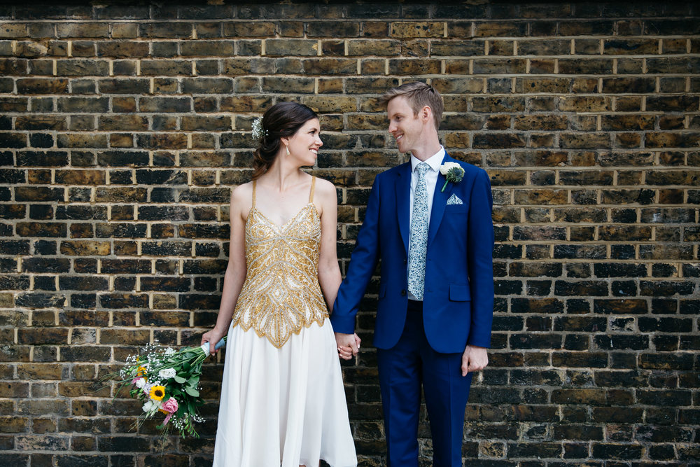 Bride and Groom London Brick Wall