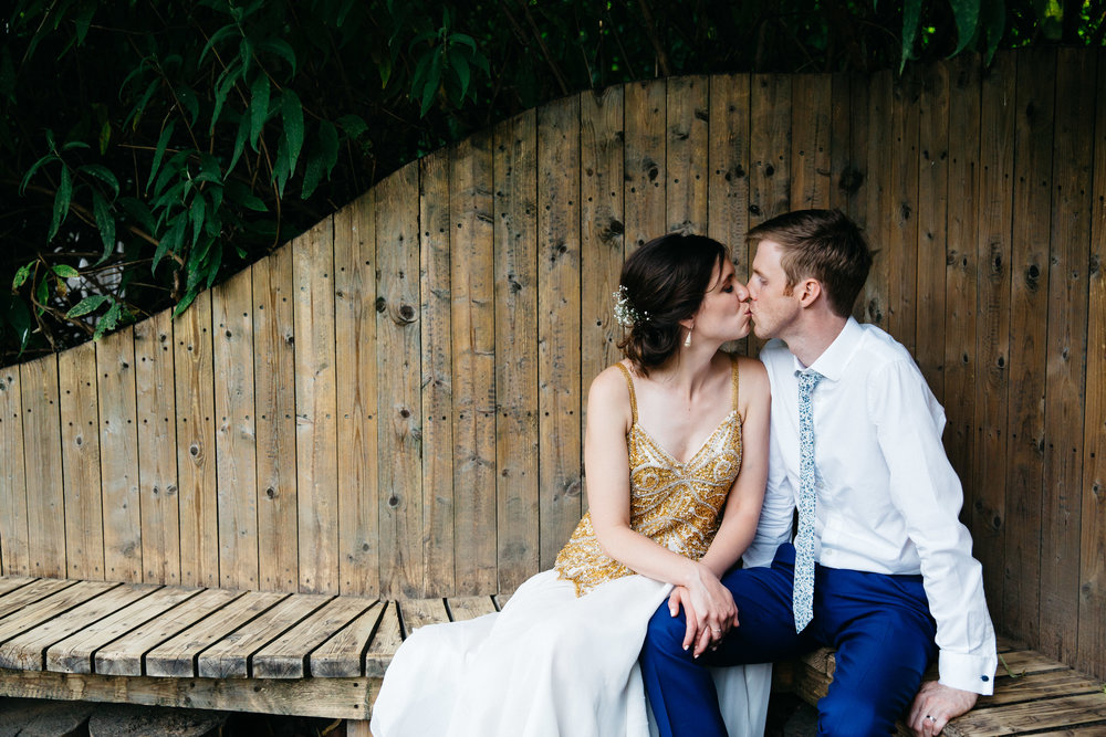 Bride and Groom wooden bench