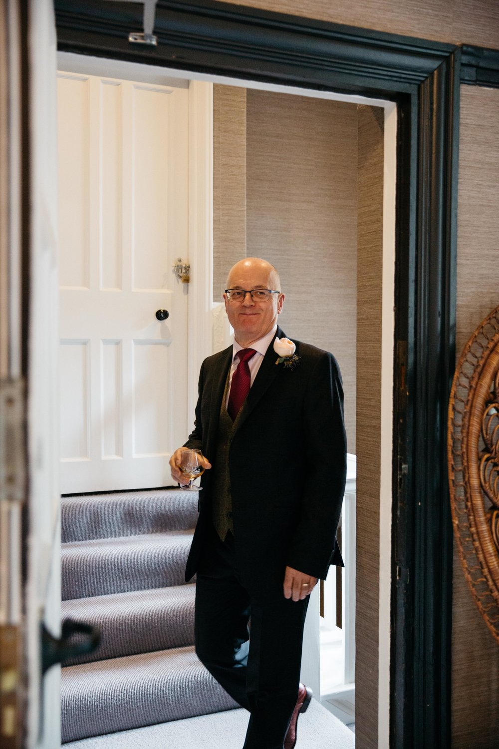 Father of the bride seeing bride at Falcon Manor Wedding Photography Yorkshire