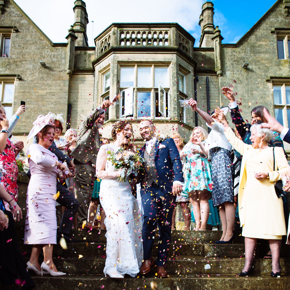 Confetti shot at Falcon Manor Wedding Photography Yorkshire