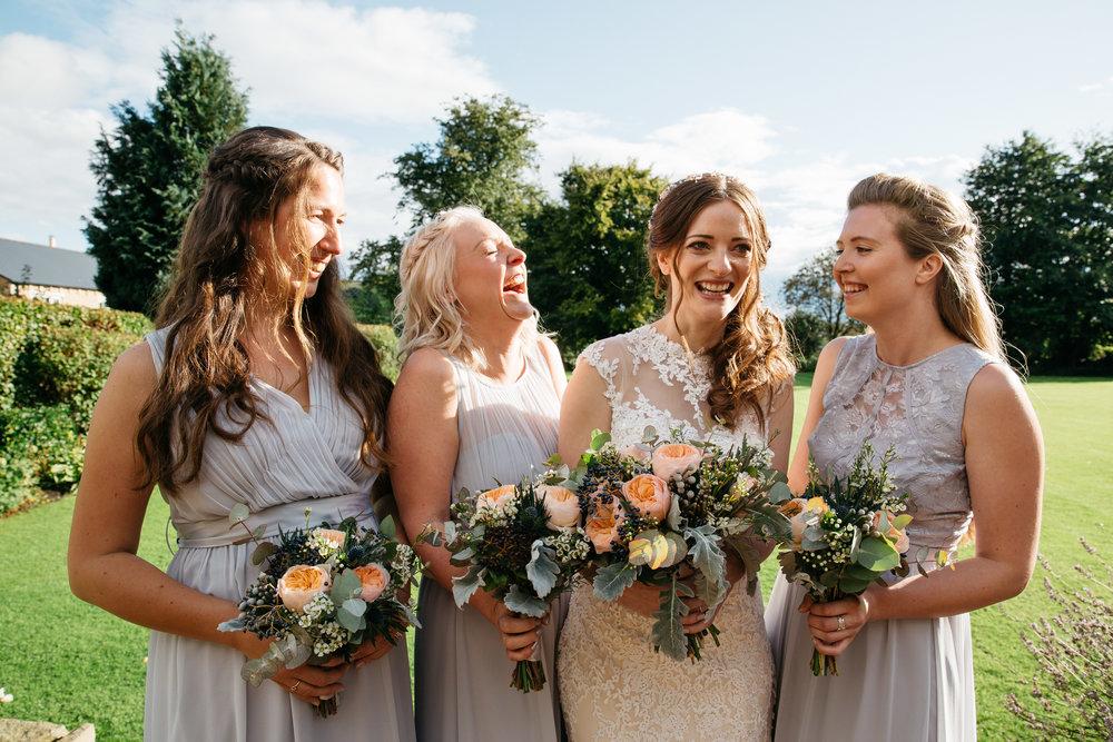 Bride and Bridesmaids at Falcon Manor Wedding Photography Yorkshire