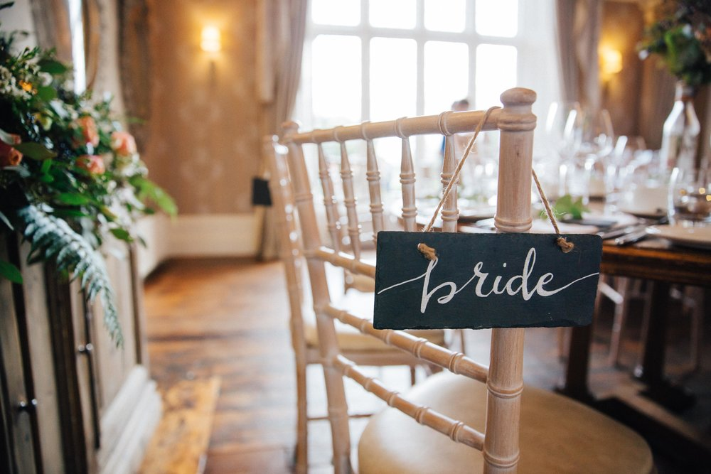 Bride's chair and table decorations Wedding Photographer Yorkshire