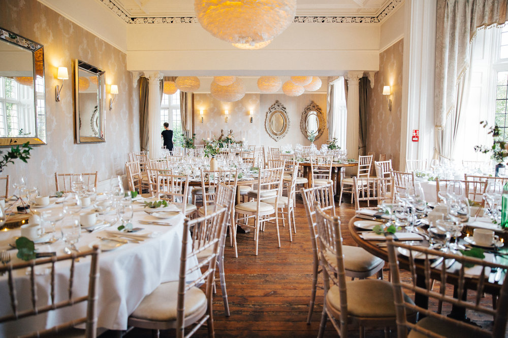 Wedding dining room at Falcon Manor Wedding Photographer Yorkshire