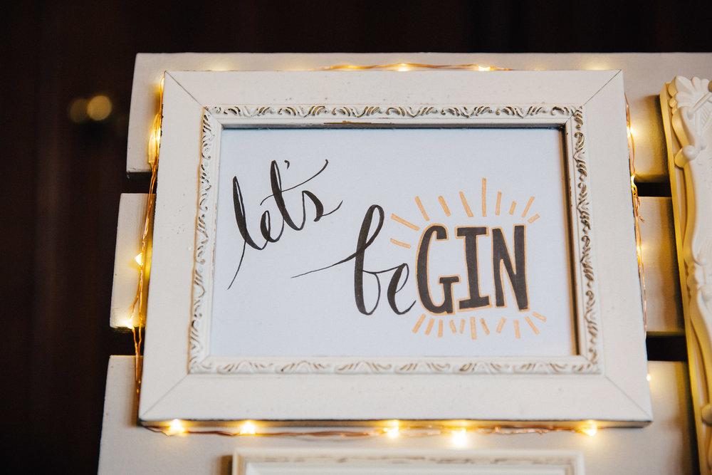 Lets Be Gin - Gin themed wedding table decorations at Falcon Manor Wedding Photographer Yorkshire