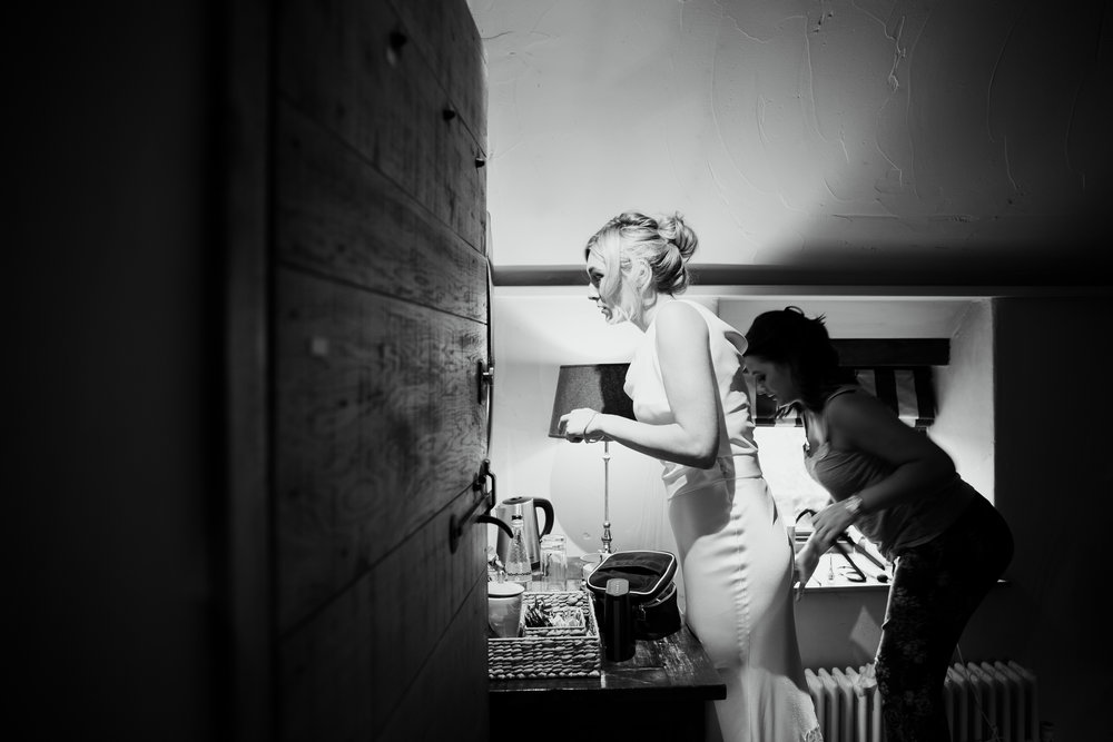 Bride getting ready at The Star Inn Harome Yorkshire Wedding Photography