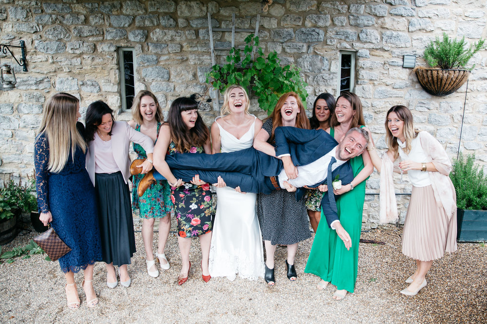 Funny group shots at The Star Inn Harome Yorkshire Wedding Photography
