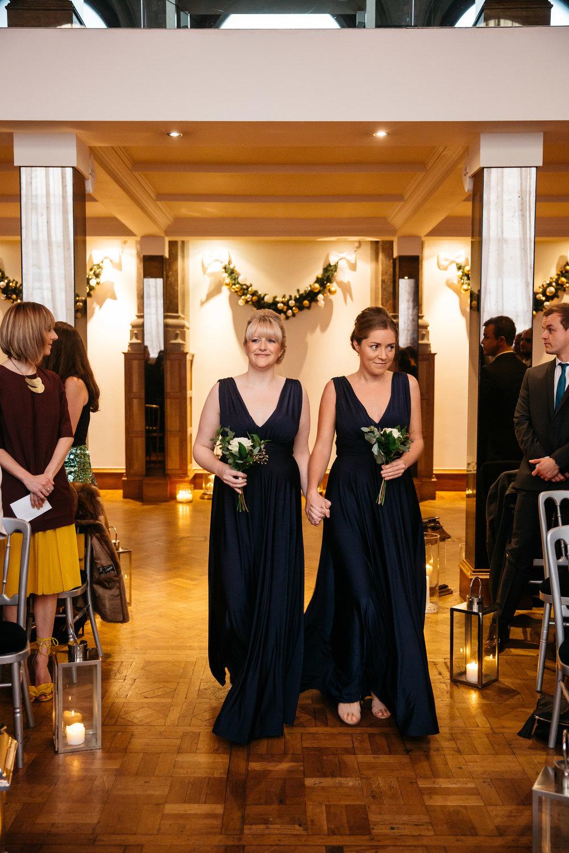 Bridesmaids walking down the aisle | Aspire Leeds wedding Photographer