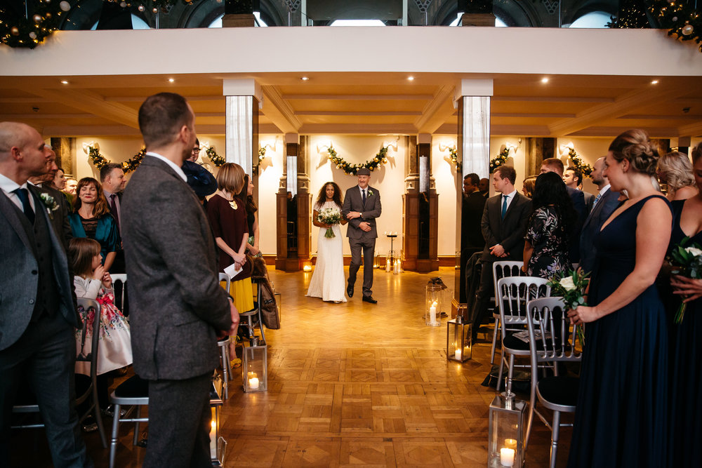 Bride walking down the aisle | Aspire Leeds wedding Photographer