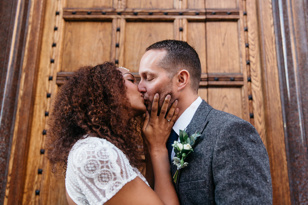 Bride and Groom kiss at Aspire Leeds | Aspire Leeds wedding Photographer