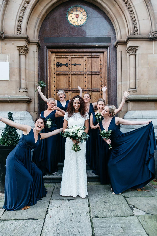 Fun Bridesmaids and bride shot at Aspire Leeds | Wedding Photographer Leeds