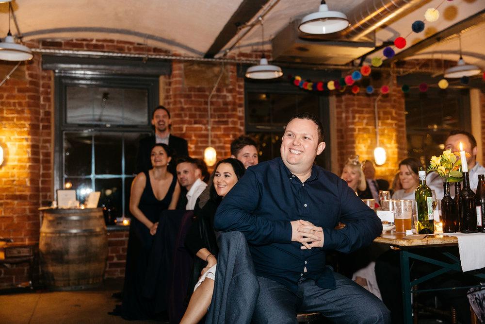 Laughing wedding guests | Wedding Photographer Leeds