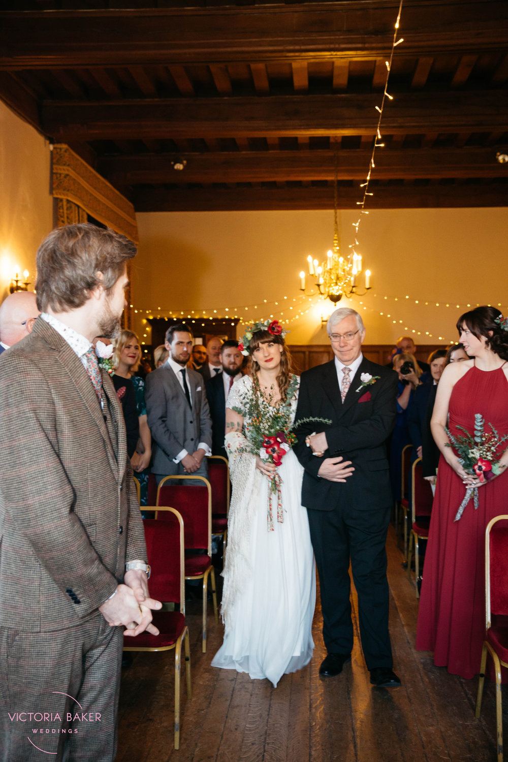 Bride and Father walking down the aisle at Monk Fryston Hall | Wedding photographer Leeds