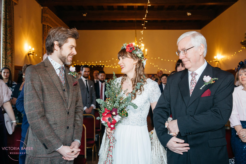 Bride, Groom and father at Monk Fryston Hall | Wedding photographer Leeds