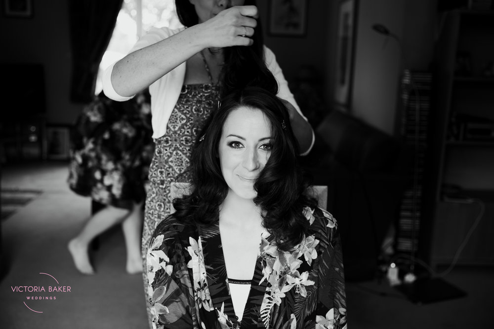 Emma getting hair done for wedding | Creative Yorkshire Wedding Photographer
