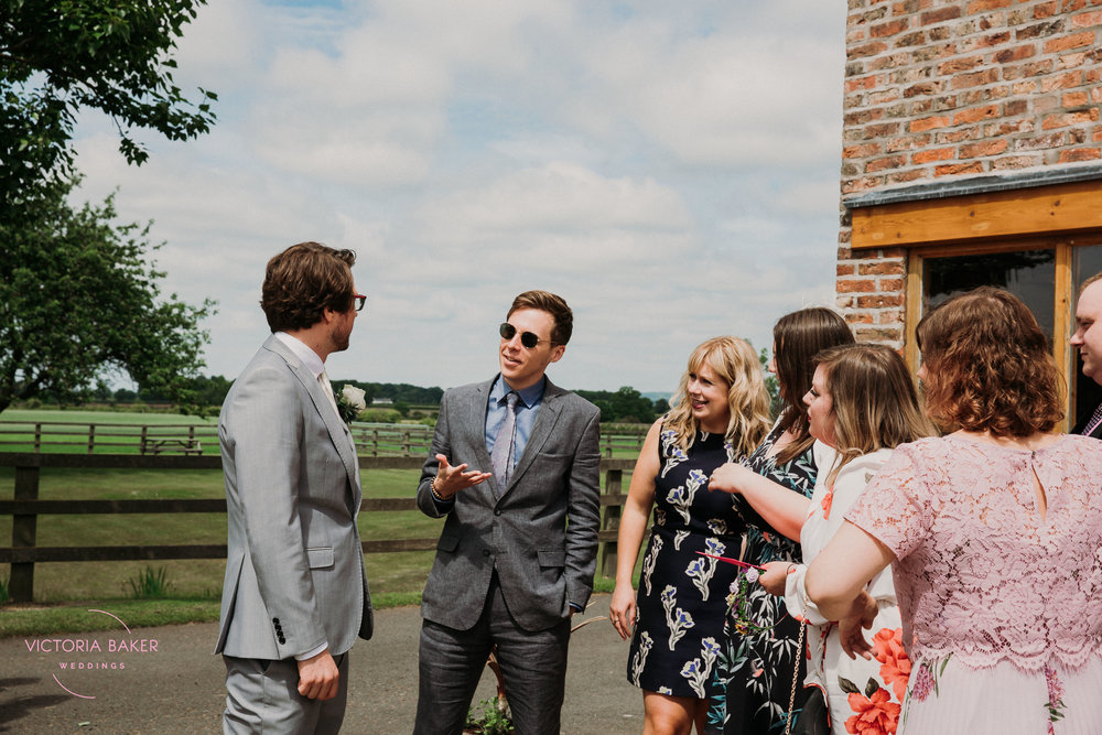 Guests arriving at Barmbyfield Barn | Creative Yorkshire Wedding Photographer