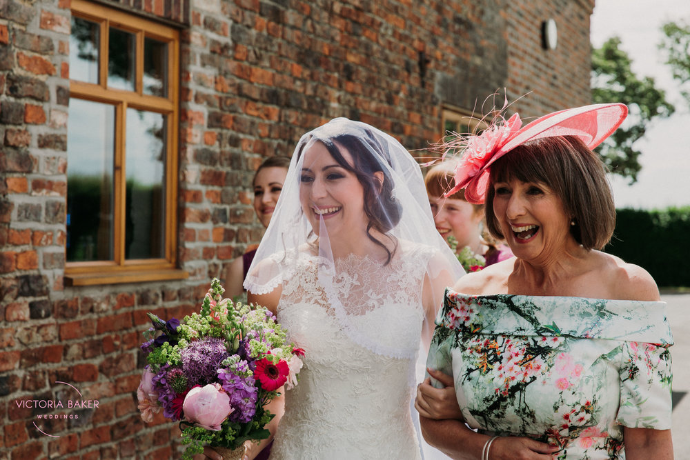 Here comes the bride at Barmbyfield Barn | Creative Yorkshire Wedding Photographer