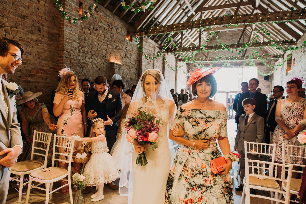 Mum giving bride away at Barmbyfield Barn | Creative Yorkshire Wedding Photographer