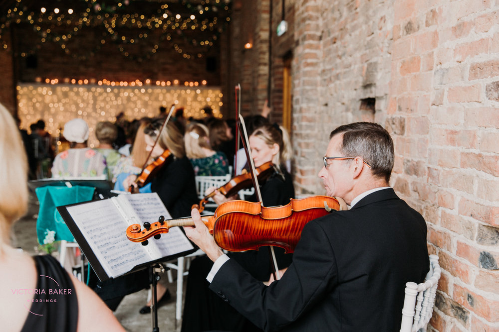 The String Quartet at Barmbyfield Barn | Creative Yorkshire Wedding Photographer