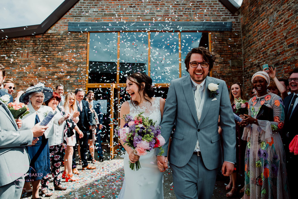 Confetti shot at Barmbyfield Barn | Creative Yorkshire Wedding Photographer