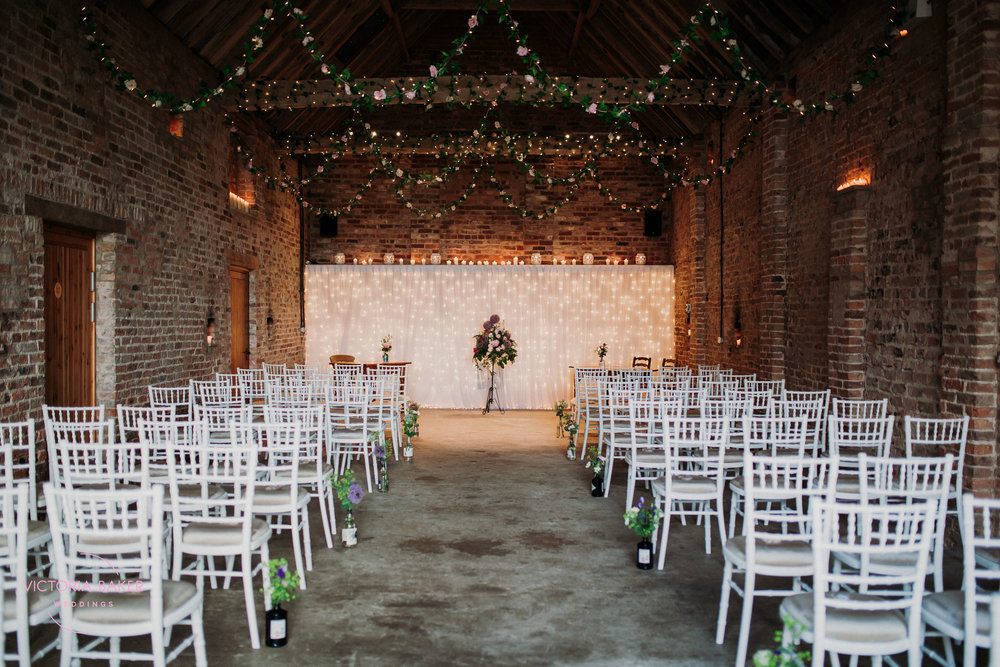 Wedding ceremony room at Barmbyfield Barn | Creative Yorkshire Wedding Photographer