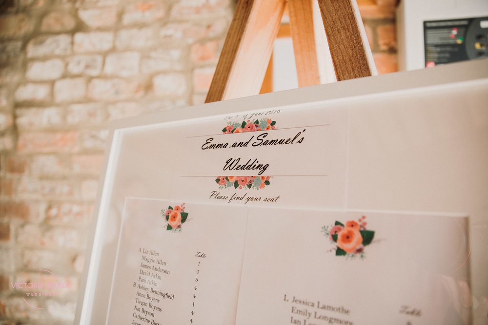 Table plan at Barmbyfield Barn | Creative Yorkshire Wedding Photographer